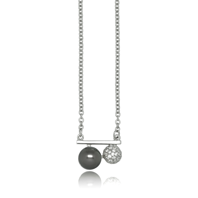 collier argent avec une perle d eau douce noire tresor secret. Black Bedroom Furniture Sets. Home Design Ideas